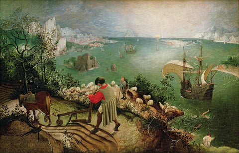 """Bruegel, Landscape with the Fall of Icarus, 1590-95, oil on wood, 25 x 35"""""""