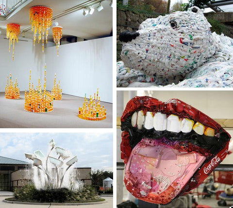 Some modern examples of unusual media deployed for artworks include: (clockwise) (i) recycled carry bags, (ii) trash, (iii) recycled bath tubs; and (iv)prescription bottles