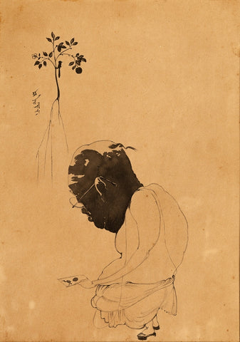 Abanindranath Tagore, Illustration for Parrot's Training, 1918, ink, 25.4 x 17.78 cm.