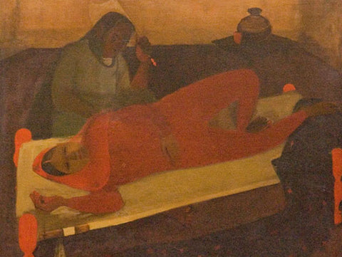 Amrita Sher-Gil, Woman on Charpai, 1940, oil on canvas, 33.46 x 28.5 in