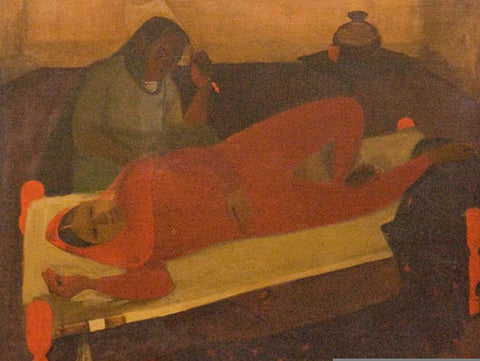 """Amrita Sher-Gil, Woman on Charpai, oil on canvas, 33.46 x 28.5"""""""