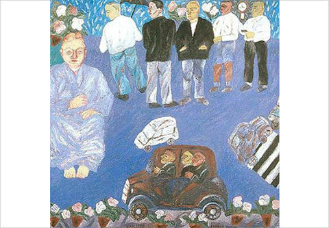 Arpita Singh, A Woman Sitting and Men Standing, 1993, oil on canvas, 35.4 x 35.4 in