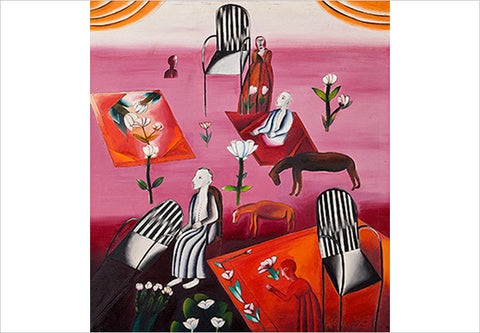 Arpita Singh, Figures and Flowers, 1971-72, oil on canvas, 43.5 x 39.5 in