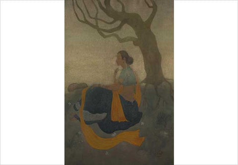 Asit Haldar, Lady seated under tree, Watercolour on paper