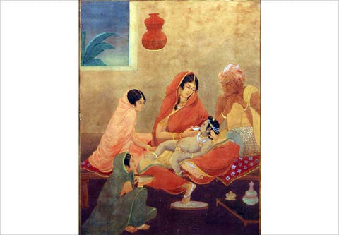 Asit Haldar, Young Krishna being fed by Yashoda, water color