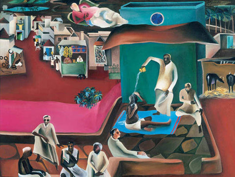 Bhupen Khakhar, Death in family, 1978, oil on canvas, 49 x 49 in