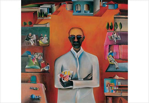 Bhupen Khakhar, Man with bouquet of plastic flowers, 1976, oil on canvas, 58 x 56 in