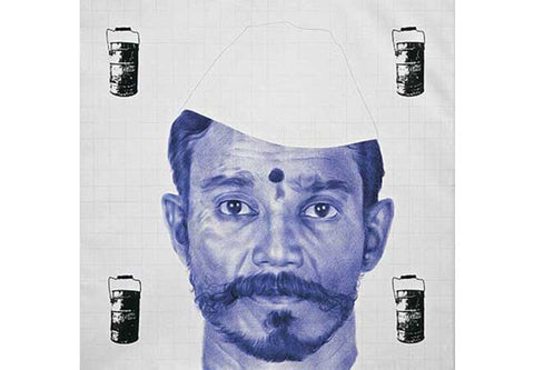 Bose Krishnamachari, Untitled, 2007, ball pen and screen print on canvas, 72x72 inches