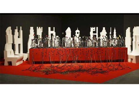 Bose Krishnamachari, White Ghost And The Red Carpet, 2008, mixed media, dimensions variable