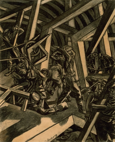 David Bomberg, Sappers at WorkCanadian Tunnelling Company, R14, St Eloi, 1918 – 1919, charcoal drawing, 673 x 558 mm, Collection Imperial War Museum.