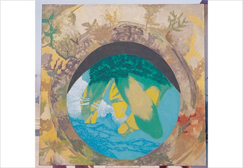 Gieve Patel, Looking in to a well(Banana Plant), 2005, acrylic on canvas, 72 X 72 in