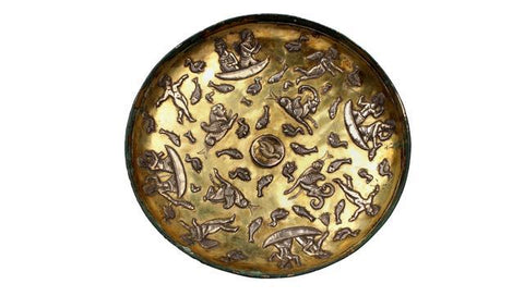Gilded silver dish from Rasht, Gilan. (Photo courtesy National Museum)