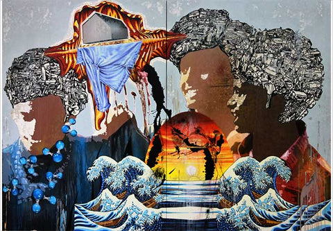 Jitish Kallat, Prosody of a Rising Tide, 2011-12, oil, acrylic, pencil and household gloss on canvas, Diptych, 84 x 120 in