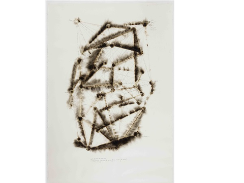 Jitish Kallat, Wind Study (the hour of the day of the month of the season), 2015, burnt adhesive and graphite on Indian handmade paper, 66.9 x 44.9 in