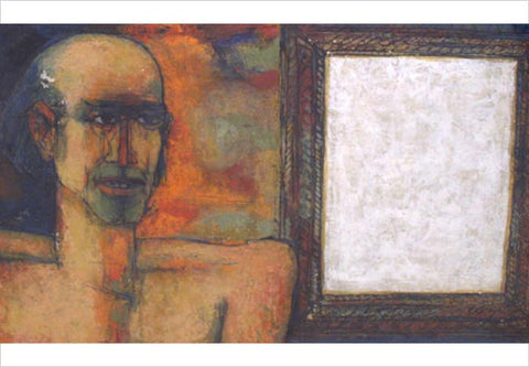 K Laxma Goud, Portrait and Blank Picture, 1980, frame, mixed media on paper, 17 x 24in