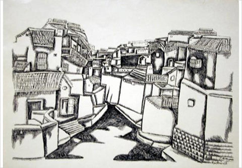 K Laxma Goud, Untitled (Urban Center Street), 1980, ink on paper, 11 x 16in