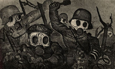 Otto Dix, Stormtroopers Advancing Under Gas, etching and aquatint, 1924