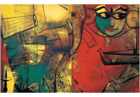 Paresh Maity, Gods Own Country, 2010, oil on canvas, 84 x 132 in