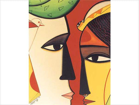 Paresh Maity, Intimacy, 2004, gouache on paper board, 30 x 23 in