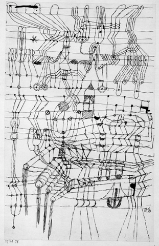 Paul Klee, Drawing Knotted in the Manner of a Net , 1921, Ink on paper mounted on cardboard