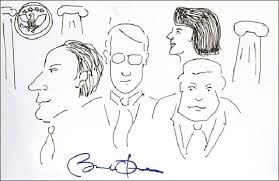 President Obama's doodle sketched on National Doodle Day to benefit charity which was sold for over $2000