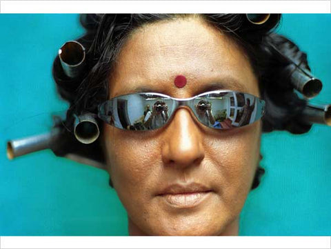 Pushpamala N, Outtake, 2000-2004, from the series Native Women of South India--Manners & Customs, photograph mounted in tin frame
