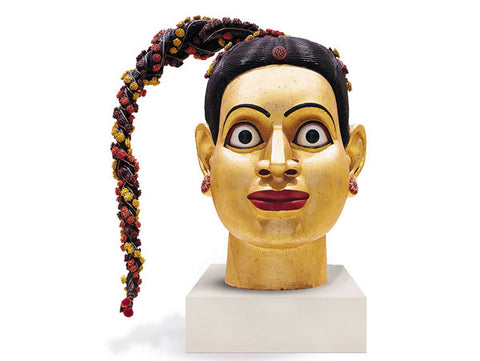 Ravinder Reddy, Head, 2004, polyester, resin and fiberglass, painted and gilded, 18 x 20 x 12in