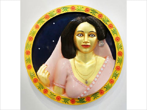 Ravinder Reddy, Portrait of a lady in Relief, 2013, painted polyster resin