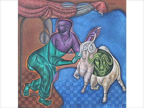 Satish Gujral, Untitled, 2012, mixed media on canvas, 12 x 12 in