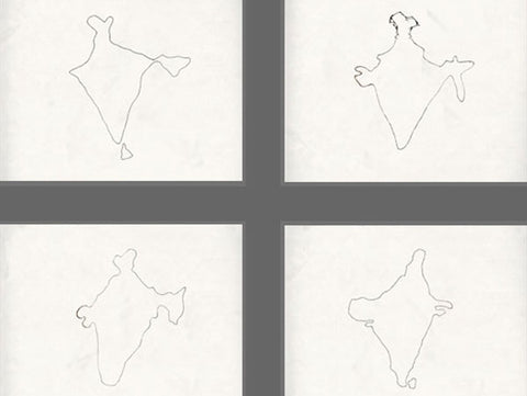 Shilpa Gupta, 100 Hand drawn Maps of India, 2007-08, still from a single channel video projection, 3 minutes 42 seconds video loop, 22.2 x 17in