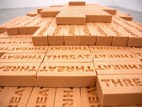 Shilpa Gupta, Threat, 2008-09, bathing soaps, 5.9 x 2.5 x 1.6 in (each soap), 28.5 x 90 x 42in(stack of 4500 soaps).