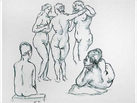 Sudhir Patwardhan, Ruben's Three Graces, 1987, pen and ink wash on paper, 10.5 x 14.5 in