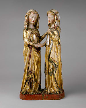 The Visitation, ca. 1310, Attributed to Master Heinrich of Constance, German Made in Constance, Walnut, paint, gilding, rock–crystal cabochons 23 14 x 12 in