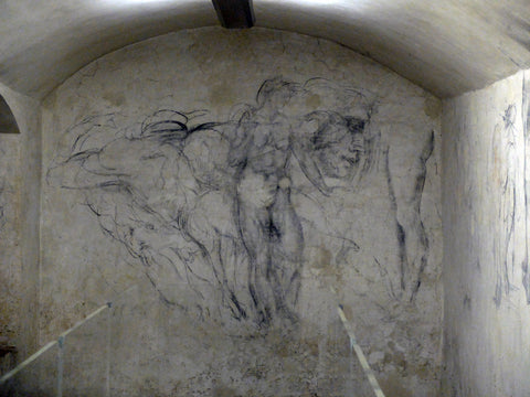 Wall in Michelangelo's hiding place, Basilica of San Lorenzo, Florence