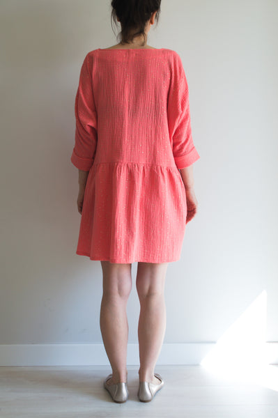 MINNIE || Muslin Coral Dress