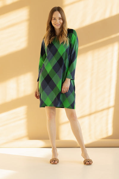 ALEX || Check Green & Navy Blue Dress