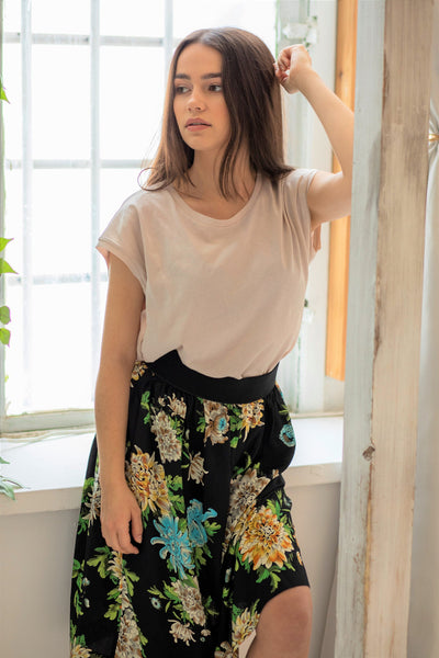 LUNA || Viscose Skirt Black Flowers