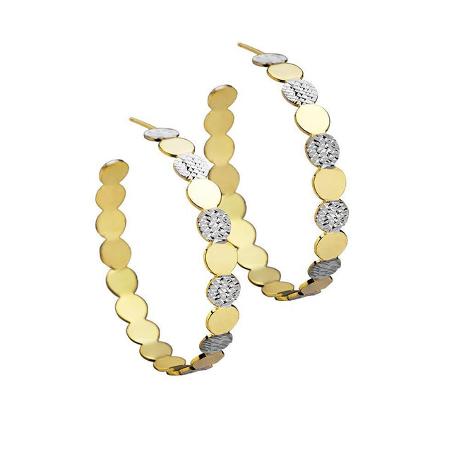 "Jennifer Zeuner Bianca 2"" hoops in Gold and Silver"