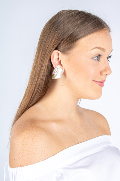 Mini Madeline Earring In White and Gold