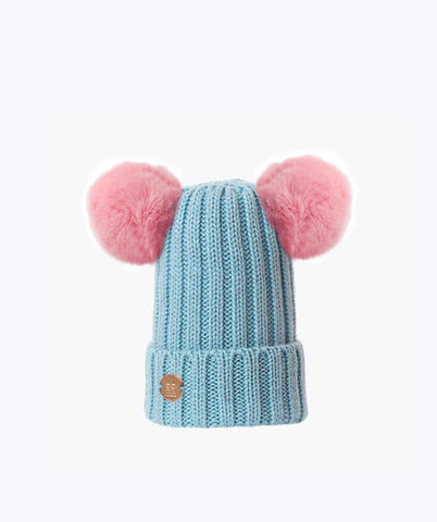DOUBLE KIDS POM POM HAT - BABY BLUE