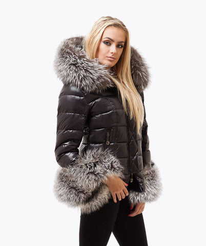 Black Quilted Down Jacket - Silver Fox