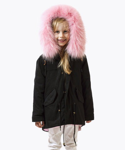 MINIS LUXY BLACK PARKA - BABY PINK