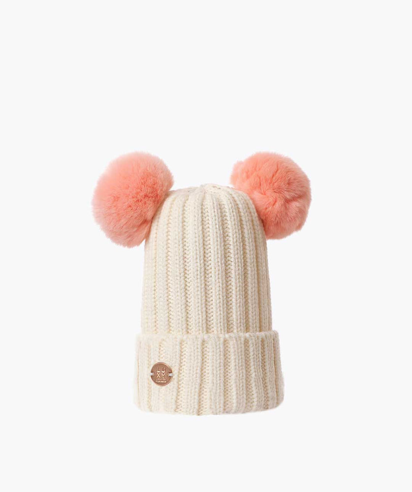 DOUBLE KIDS POM POM HAT - IVORY