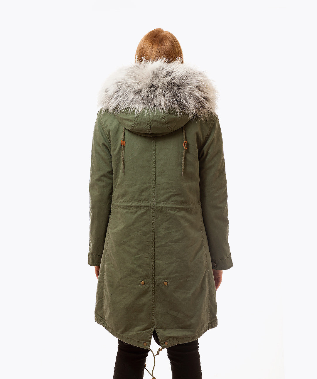 KHAKI LUXY FUR PARKA - 3/4 ICE WHITE