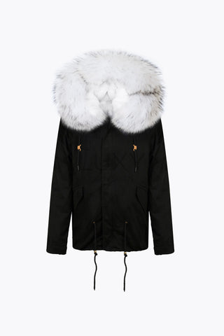 BLACK LUXY FUR PARKA - SNOW