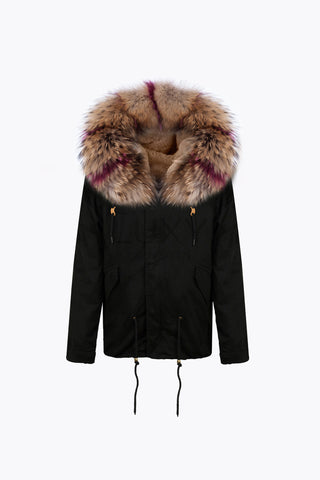 BLACK LUXY FUR PARKA - RASPBERRY FLASH