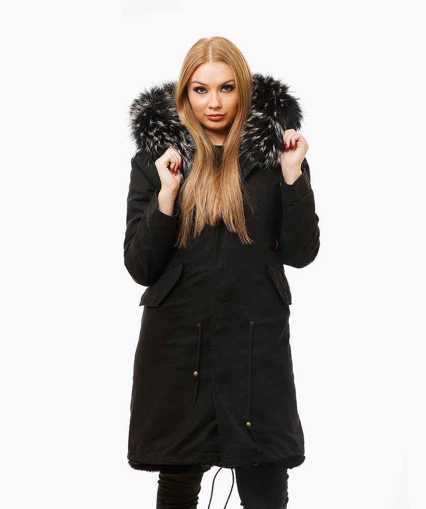 BLACK LUXY FUR PARKA - 3/4 BLACKMIST
