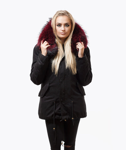 BLACK LUXY FUR PARKA - WINE