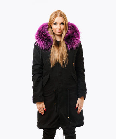 BLACK LUXY FUR PARKA - 3/4 PURPLE