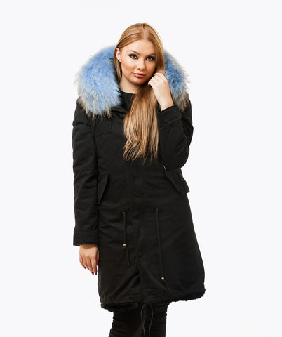 BLACK LUXY FUR PARKA - 3/4 LIGHT BLUE